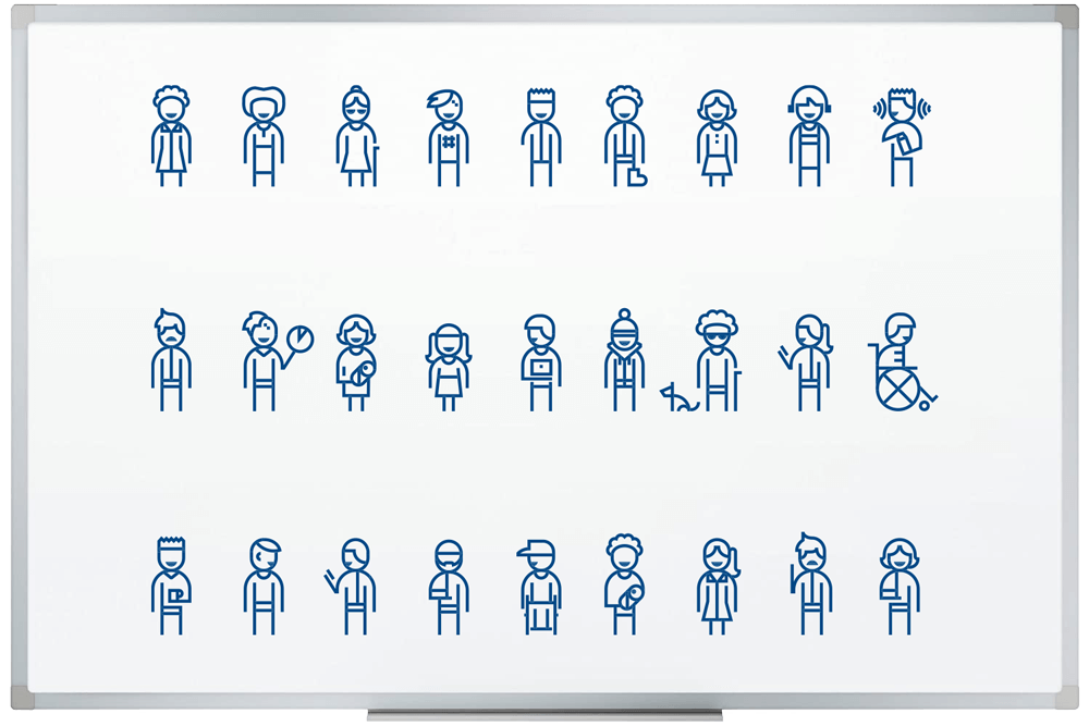 27 figures of humans representing various types of disability